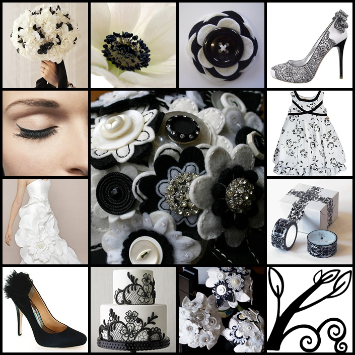 Today 39s theme is modern romance with black and white floral details