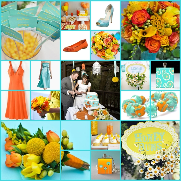 Keen to be seen aqua orange and yellow wedding all of the larger photos and the flowers on this board are from a lovely wedding featured on amorology i love that their tables are marked with cute names mightylinksfo