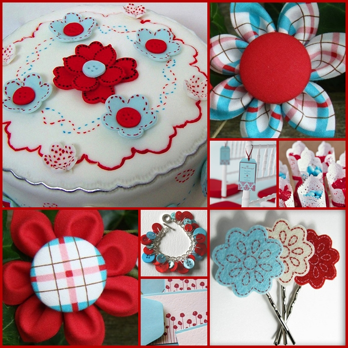 Keen To Be Seen Light Blue And Red Cute And Crafty Theme